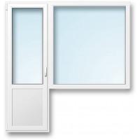 Окно пластиковое с дверью Proplex 750*1050*2120