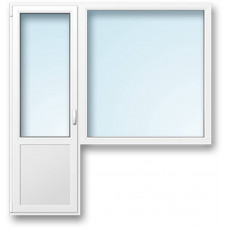 Окно пластиковое с дверью KBE 750*1930*2120 Венге