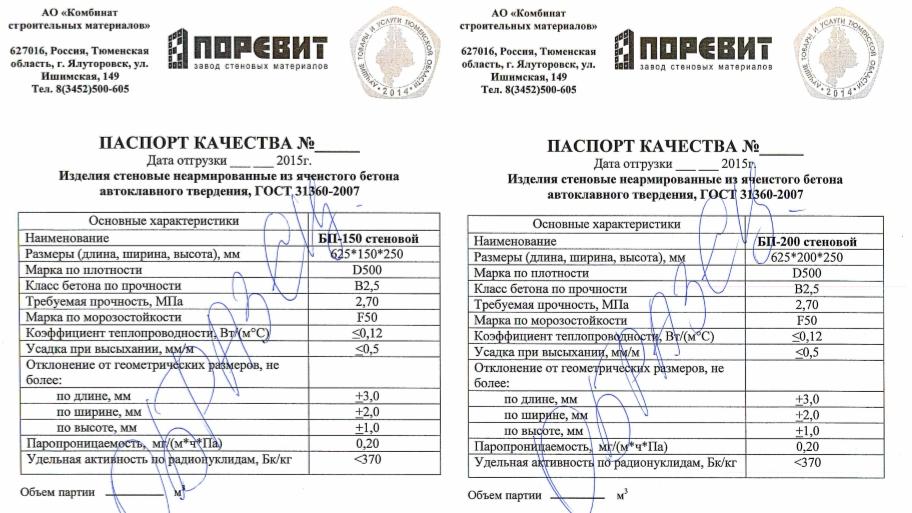 Сертификат на ЖБИ изделия Поревит